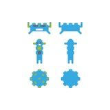 比赛app戏剧或海报的妖怪字符 机器人app 库存图片