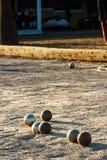 比赛petanque 库存照片