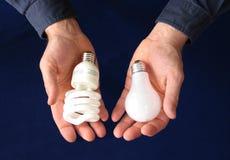 比较类型的电灯泡 图库摄影