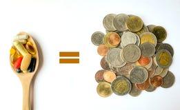比较金钱&药物 库存图片