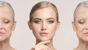 比较 美丽的妇女画象有问题和干净的皮肤、老化和青年概念的,秀丽治疗 免版税图库摄影