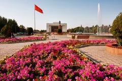 比什凯克,吉尔吉斯斯坦:人们有休息靠近喷泉&花圃在城市大广场 库存图片
