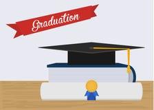 毕业与书和文凭的帽子例证 免版税图库摄影