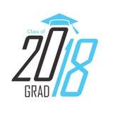 2018年毕业与毕业的向量图形黑和蓝色类  皇族释放例证