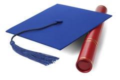 毕业与纸卷持有人的灰浆板 库存照片