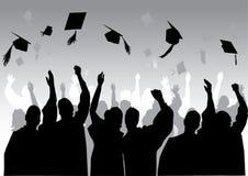 毕业剪影 库存图片