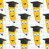 毕业帽子铅笔无缝的样式 图库摄影