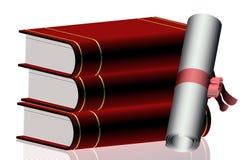 毕业文凭和书 向量例证