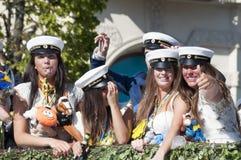 毕业游行在赫尔辛堡 免版税库存照片