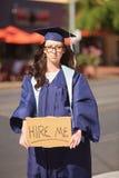 毕业生乞求工作的 免版税库存照片
