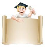 毕业生和纸卷横幅标志 图库摄影