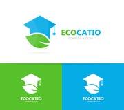 毕业生帽子和叶子商标组合 研究和eco标志或者象 独特的有机学院略写法设计模板 库存照片
