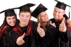 毕业的组愉快的学员 图库摄影