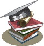 毕业盖帽、书和文凭 库存照片