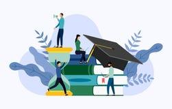 毕业盖帽、滴漏和书与人的概念 库存例证