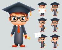 毕业盖帽优秀文凭证明纸卷学生天才学校聪明的聪明的男孩一致的衣服风镜3d 向量例证