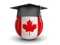 毕业盖帽和加拿大旗子 库存图片