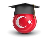 毕业盖帽和土耳其旗子 库存照片