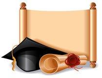 毕业盖帽和文凭 免版税图库摄影