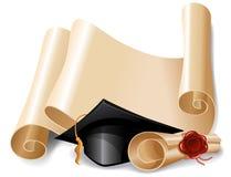 毕业盖帽和文凭 免版税库存图片