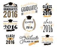 毕业祝愿覆盖物,在标签设计集合上写字 2016枚徽章减速火箭的毕业生类  手拉的象征 图库摄影