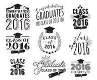 毕业祝愿覆盖物,在标签设计集合上写字 2016枚徽章黑白照片毕业生类  与旭日形首饰的象征 免版税库存图片