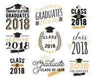 毕业祝愿覆盖物,标号组 2018枚徽章减速火箭的毕业生类  免版税库存照片