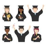 毕业褂子和灰泥板的学生 免版税图库摄影