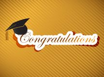 毕业-祝贺在上写字 库存例证