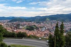 毕尔巴鄂,毕尔巴鄂,西班牙全景从Artxanda山的 免版税图库摄影
