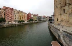 毕尔巴鄂,西班牙江边  免版税库存照片