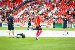 毕尔巴鄂,西班牙- 8月28 :在比赛的热化的杰勒德生气在毕尔巴鄂竞技队和巴塞罗那足球俱乐部之间的,庆祝8月 库存图片