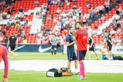 毕尔巴鄂,西班牙- 8月28 :在比赛的热化的杰勒德生气在毕尔巴鄂竞技队和巴塞罗那足球俱乐部之间的,庆祝8月 库存照片