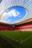 毕尔巴鄂,西班牙- 9月18 :在比赛以后的内部全景圣Mames体育场在毕尔巴鄂竞技队和巴伦西亚锎, celebr之间 免版税库存照片