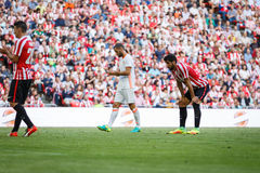 毕尔巴鄂,西班牙- 9月18 :拉乌尔角加西亚,运动俱乐部毕尔巴鄂球员,在毕尔巴鄂竞技队和巴伦西亚锎之间的比赛的, cele 免版税库存照片
