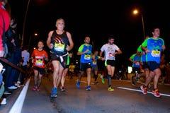 毕尔巴鄂,西班牙- 10月22 :未认出的赛跑者以伤残在毕尔巴鄂马拉松夜,庆祝在10月2日的毕尔巴鄂 图库摄影