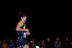 毕尔巴鄂,西班牙- 10月22 :未认出的赛跑者以伤残在毕尔巴鄂马拉松夜,庆祝在10月2日的毕尔巴鄂 免版税图库摄影