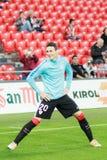 毕尔巴鄂,西班牙- 4月9 :比赛的帕布鲁Berasaluze早先对对手球冠军赛,庆祝4月9日, 库存照片