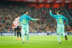 毕尔巴鄂,西班牙- 1月05 :行动的利昂内尔・梅西在毕尔巴鄂竞技队和FC Barce之间的八决赛西班牙杯比赛期间 库存图片