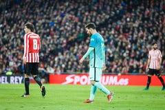 毕尔巴鄂,西班牙- 1月05 :行动的利昂内尔・梅西在毕尔巴鄂竞技队和FC Barce之间的八决赛西班牙杯比赛期间 免版税库存图片