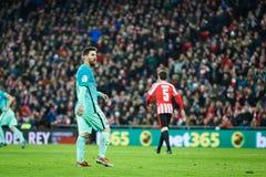 毕尔巴鄂,西班牙- 1月05 :行动的利昂内尔・梅西在毕尔巴鄂竞技队和FC Barce之间的八决赛西班牙杯比赛期间 免版税图库摄影