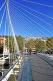 Zubizuri桥梁在毕尔巴鄂,西班牙 库存照片