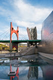 毕尔巴鄂,西班牙- 3月7 :2010年3月7日的古根汉毕尔巴鄂博物馆在毕尔巴鄂,西班牙 设计由弗兰克・盖里,在1997年被修造了 库存照片