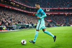毕尔巴鄂,西班牙- 1月05 :Neymar,巴塞罗那球员,在八决赛西班牙杯比赛期间的行动的在毕尔巴鄂竞技队之间 库存图片