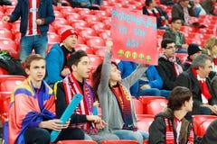 毕尔巴鄂,西班牙- ARPIL 10 :比赛的Ze卡斯特罗在毕尔巴鄂竞技队和巴列卡诺足球俱乐部之间,庆祝2016年4月10日在Bilba 免版税库存图片