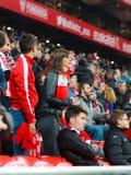 毕尔巴鄂,西班牙- ARPIL 10 :比赛的Ze卡斯特罗在毕尔巴鄂竞技队和巴列卡诺足球俱乐部之间,庆祝2016年4月10日在Bilba 免版税库存照片
