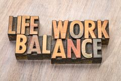 毕生的事业平衡在木类型的词摘要 免版税库存照片