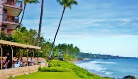 毛伊夏威夷状态的Oceanview餐馆 免版税库存图片