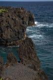 毛伊夏威夷黑熔岩峭壁  免版税库存照片
