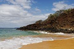 毛伊海滩场面-在毛伊西南岸的大海滩, 图库摄影